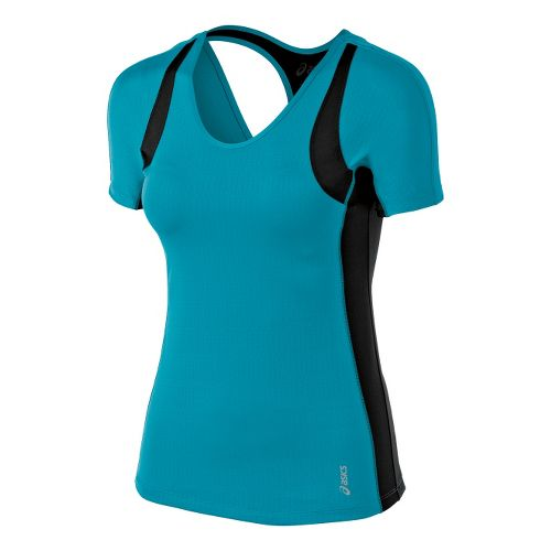 Womens ASICS Abby Tee Short Sleeve Technical Tops - Bondi Blue XS