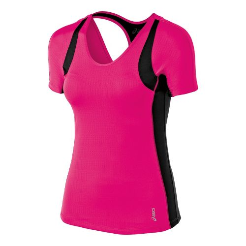 Womens ASICS Abby Tee Short Sleeve Technical Tops - Magenta L