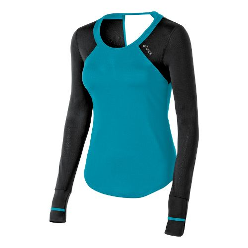 Womens ASICS Abby Tee Long Sleeve No Zip Technical Tops - Bondi Blue XS