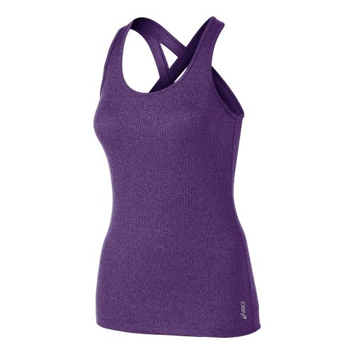 Womens ASICS Fit-Sana Rib Tank Technical Tops - Berry XS