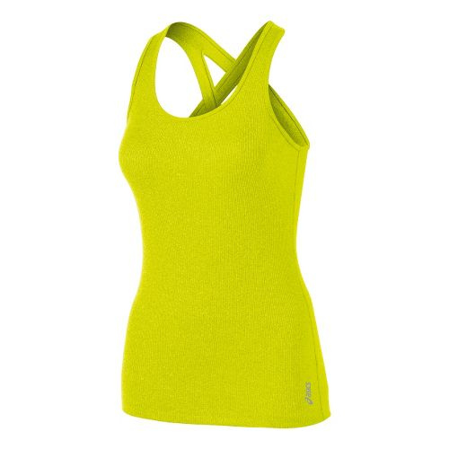 Womens ASICS Fit-Sana Rib Tank Technical Tops - Electric Lime L