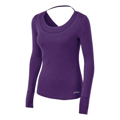 Womens ASICS Fit-Sana Tee Long Sleeve No Zip Technical Tops - Berry XL