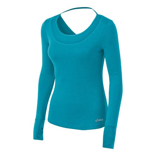 Womens ASICS Fit-Sana Tee Long Sleeve No Zip Technical Tops - Bondi Blue L
