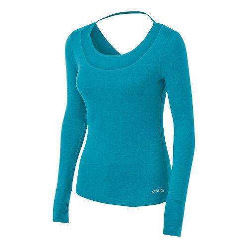 Womens ASICS Fit-Sana Tee Long Sleeve No Zip Technical Tops - Bondi Blue M