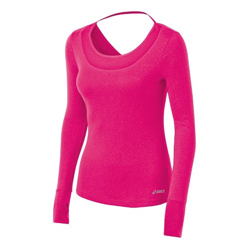 Womens ASICS Fit-Sana Tee Long Sleeve No Zip Technical Tops - Magenta XL