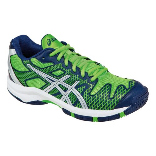 Kids ASICS GEL-Solution Speed GS Court Shoe - Navy/Neon Green 3