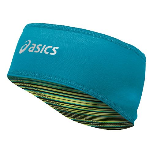 ASICS Thermopolis LT 2-N-1 Headwarmer Headwear - Electric Lime Stripe/Bondi Blue