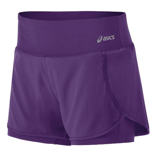 Womens ASICS Fit-Sana 2-in-1 Shorts - Berry/Berry XS