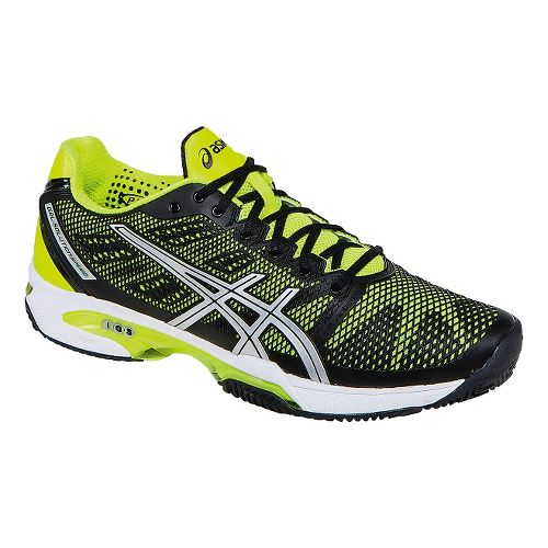 Mens ASICS GEL-Solution Speed 2 Clay Court Shoe - Onyx/Flash Yellow 7.5