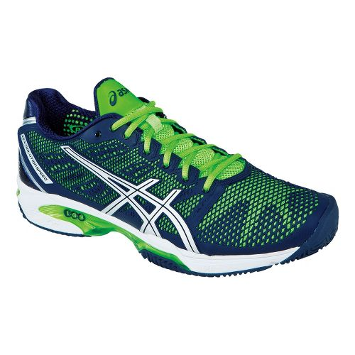 Mens ASICS GEL-Solution Speed 2 Clay Court Shoe - Navy/Neon Green 12.5