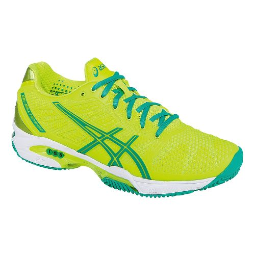 Womens ASICS GEL-Solution Speed 2 Clay Court Shoe - Flash Yellow/Mint 11