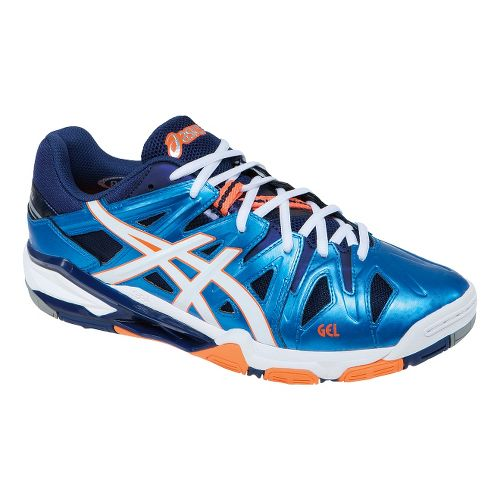 Mens ASICS GEL-Sensei 5 Court Shoe - Blue/Orange 7.5