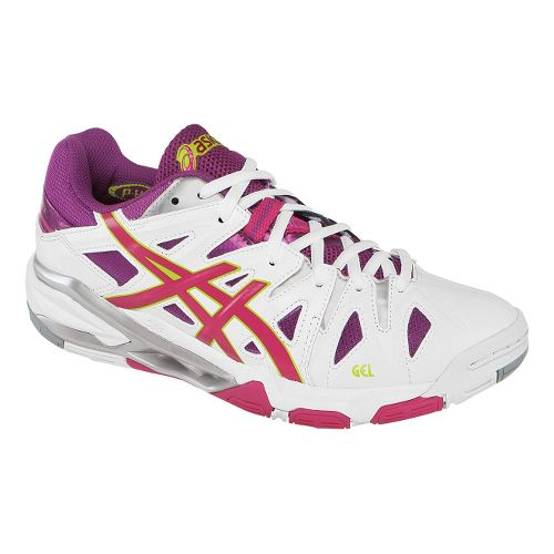 Womens ASICS GEL-Sensei 5 Court Shoe - White/Magenta 7.5