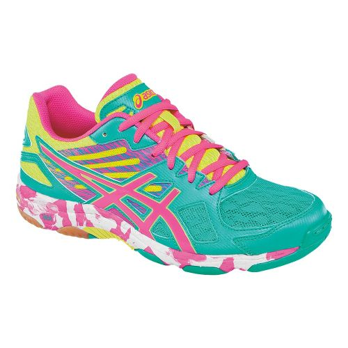 Womens ASICS GEL-Flashpoint 2 Court Shoe - Atlantis/KnockoutPink 5