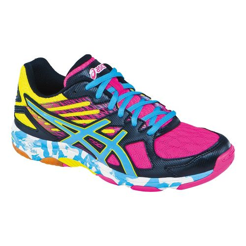 Womens ASICS GEL-Flashpoint 2 Court Shoe - Black/Pool 7.5
