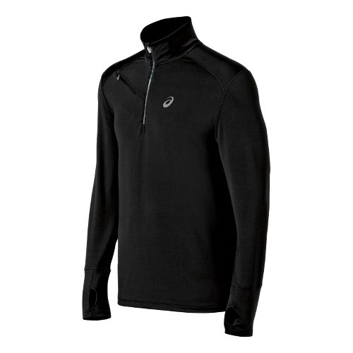 Mens ASICS Thermal XP Long Sleeve 1/2 Zip Technical Tops - Black XL