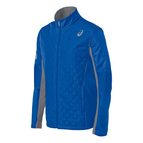 Mens ASICS Thermo Windblocker Running Jackets - New Blue/Heather Iron L