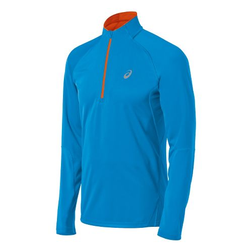 Mens ASICS Speed Softshell Long Sleeve 1/2 Zip Technical Tops - Atlantic Blue L