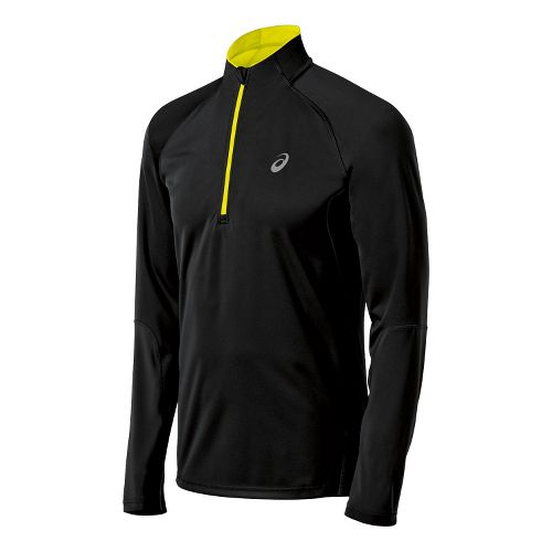 Mens ASICS Speed Softshell Long Sleeve 1/2 Zip Technical Tops - Performance Black L