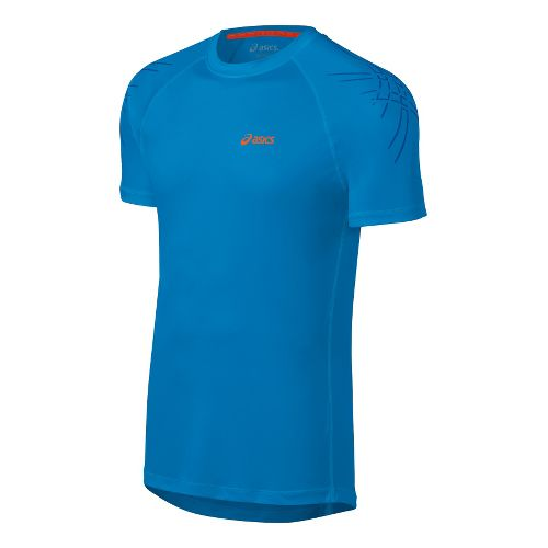 Mens ASICS Tiger Short Sleeve Technical Tops - Atlantic Blue L