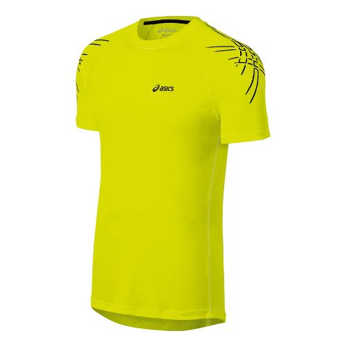 Mens ASICS Tiger Short Sleeve Technical Tops - Electric Lime S