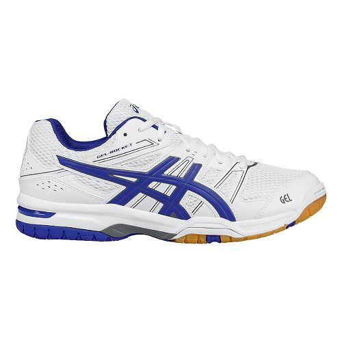 Mens ASICS GEL-Rocket 7 Court Shoe - White/Blue 6.5