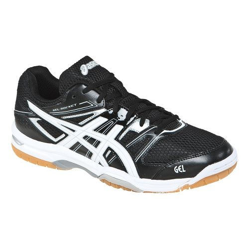 Mens ASICS GEL-Rocket 7 Court Shoe - Black/White 11.5