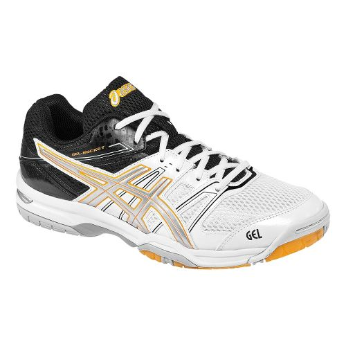Mens ASICS GEL-Rocket 7 Court Shoe - White/Black 7.5