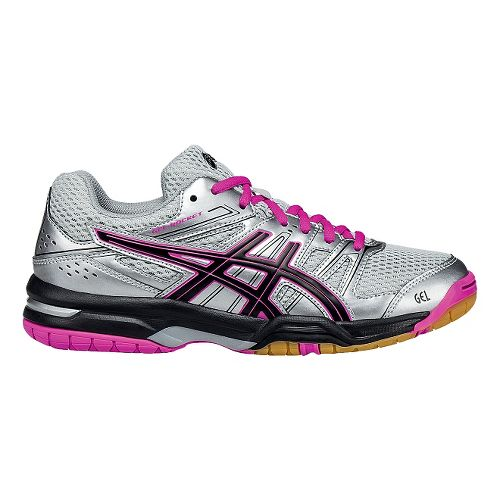 Womens ASICS GEL-Rocket 7 Court Shoe - Silver/Black 11.5