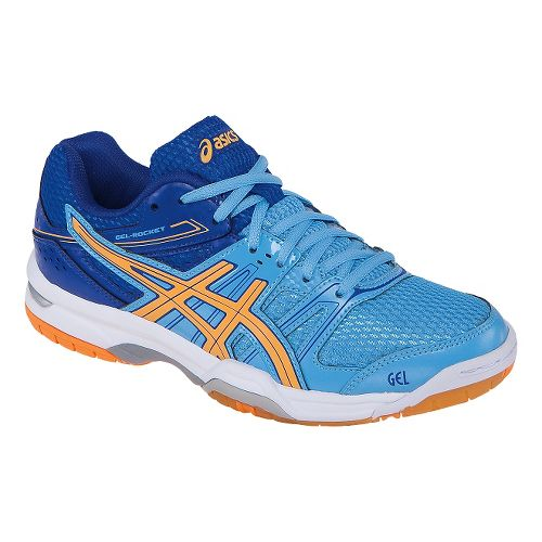 Womens ASICS GEL-Rocket 7 Court Shoe - Soft Blue/Nectarine 10.5