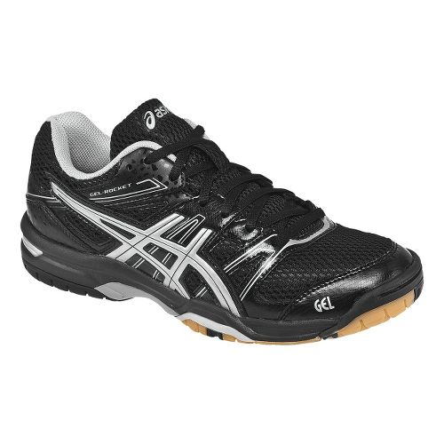 Womens ASICS GEL-Rocket 7 Court Shoe - Black/Silver 10.5