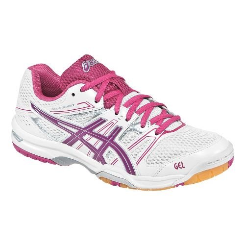 Womens ASICS GEL-Rocket 7 Court Shoe - White/Fuschia 5