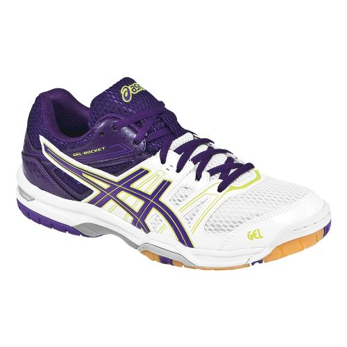 Womens ASICS GEL-Rocket 7 Court Shoe - White/Purple 5