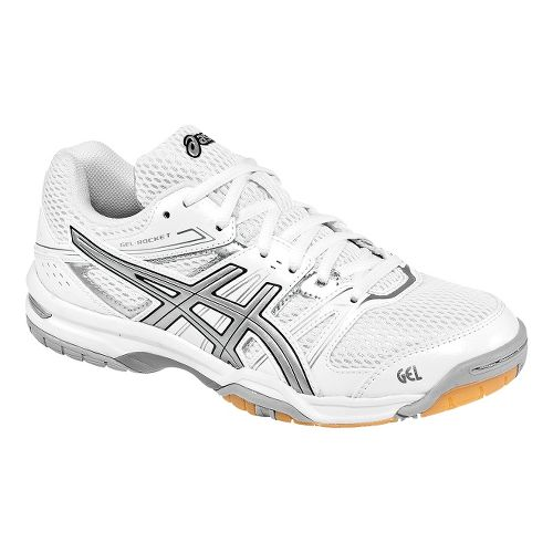 Womens ASICS GEL-Rocket 7 Court Shoe - White/Silver 7.5