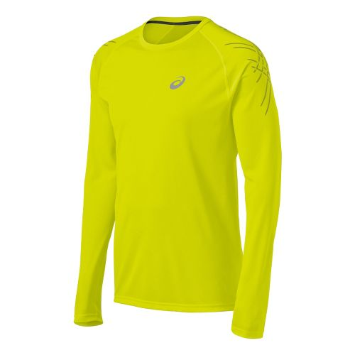 Mens ASICS Speed Long Sleeve No Zip Technical Tops - Electric Lime XL