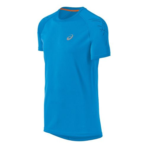 Mens ASICS Speed Short Sleeve Short Sleeve Technical Tops - Atlantic Blue XL