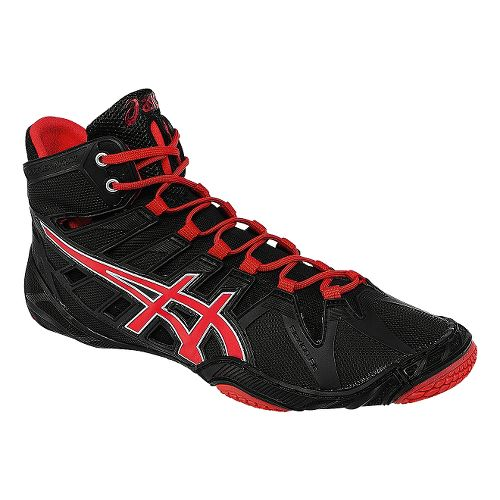 Mens ASICS Omniflex-Attack Wrestling Shoe - Black/Red Pepper 10