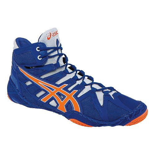 Mens ASICS Omniflex-Attack Wrestling Shoe - True Blue/Orange 11.5
