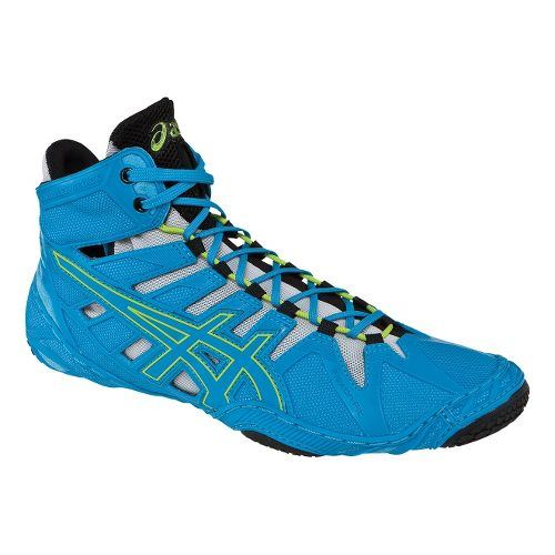 Mens ASICS Omniflex-Attack Wrestling Shoe - Blue Jewel/Lime 11.5