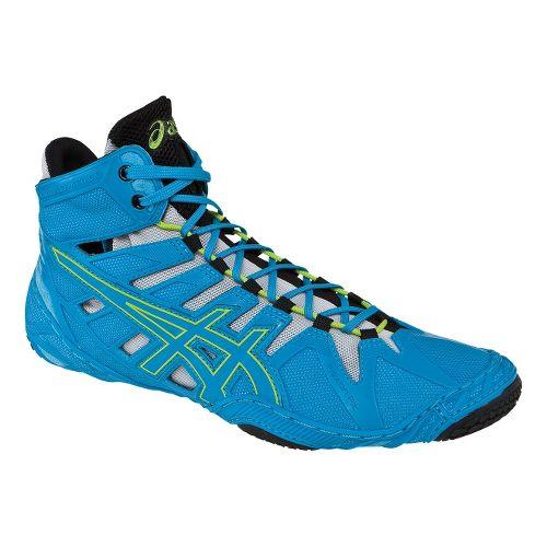 Mens ASICS Omniflex-Attack Wrestling Shoe - Blue Jewel/Lime 6