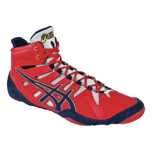Mens ASICS Omniflex-Attack Wrestling Shoe - Red/Navy 10.5
