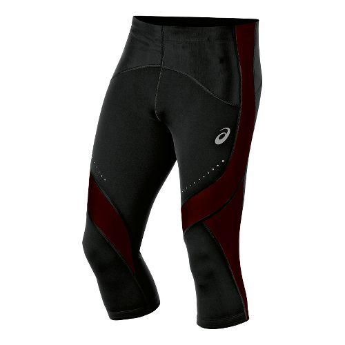 Mens ASICS Leg Balance Knee Capri Tights - Black/Fiery Flame S