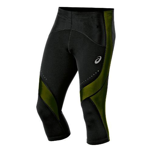 Mens ASICS Leg Balance Knee Capri Tights - Black/Safety Yellow XL