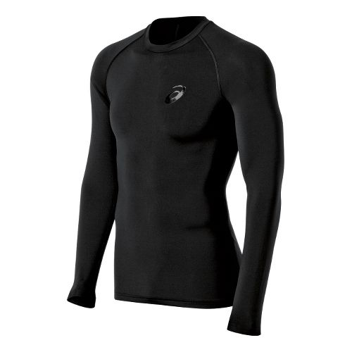 Mens ASICS Inner Muscle Long Sleeve No Zip Technical Tops - Performance Black S