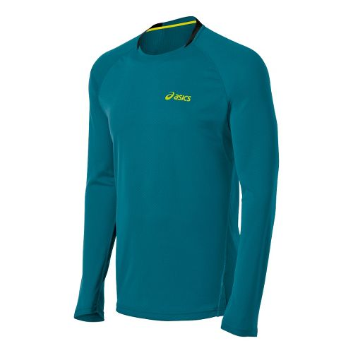Mens ASICS FujiTrail Long Sleeve No Zip Technical Tops - Cool Teal M