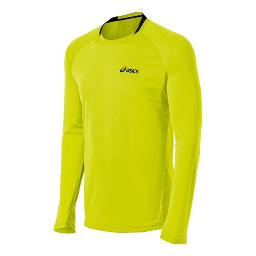 Mens ASICS FujiTrail Long Sleeve No Zip Technical Tops - Electric Lime S