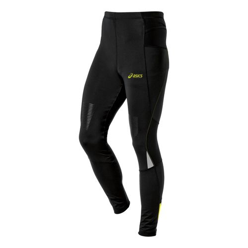 Mens ASICS FujiTrail Fitted Tights - Performance Black/Electric Lime S
