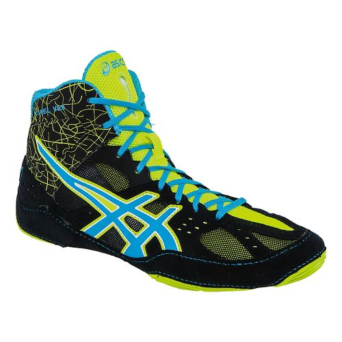 Mens ASICS Cael V6.0 Wrestling Shoe - Black/Atomic Blue 11.5