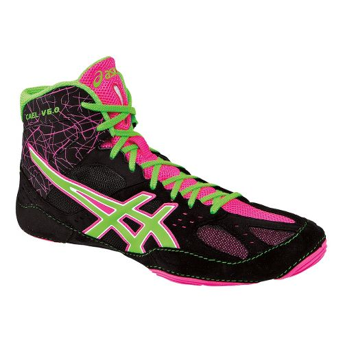 Mens ASICS Cael V6.0 Wrestling Shoe - Black/Green Gecko 11.5