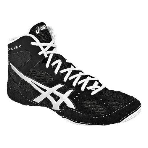 Mens ASICS Cael V6.0 Wrestling Shoe - Black/Silver 10.5